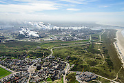 Nederland, Noord-Holland, Wijk aan Zee , 09-04-2014; overzicht IJmuiden Steel Works van Tata Steel vanuit Wijk aan Zee.<br />