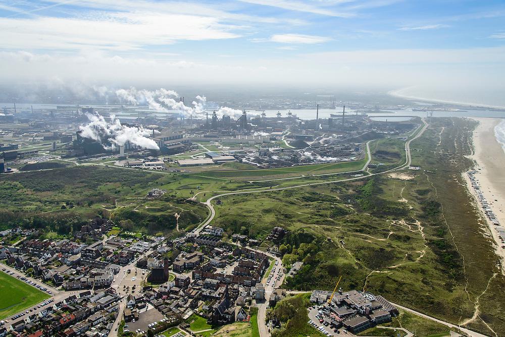 Nederland, Noord-Holland, Wijk aan Zee , 09-04-2014; overzicht IJmuiden Steel Works van Tata Steel vanuit Wijk aan Zee.<br /> Overview IJmuiden Steel Works, part of Tata Steel. <br /> luchtfoto (toeslag op standard tarieven);<br /> aerial photo (additional fee required);<br /> copyright foto/photo Siebe Swart