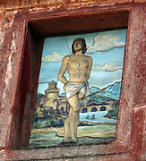 Detail from the Roman Forum, a rectangular plaza in the centre of Rome, Italy. Originally a marketplace, it became the centre of Roman public life. Now a fragmented and sprawling collection of ruins. This image shows a painted relief.