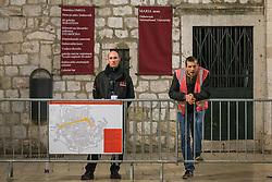 09.03.2016, Dubrovnik, CRO, Star Wars: Episode VIII, Drehort Dubrovnik, im Bild nachdem die berühmte Stradun Strasse gesperrt wurde und Sicherheitspersonal patroulliert wurde mit den Dreharbeiten begonnen. // Filming of Star Wars began in the late afternoon in Dubrovnik therefore is closed famous street Stradun Dubrovnik, Croatia on 2016/03/09. EXPA Pictures © 2016, PhotoCredit: EXPA/ Pixsell/ Grgo Jelavic<br /> <br /> *****ATTENTION - for AUT, SLO, SUI, SWE, ITA, FRA only*****
