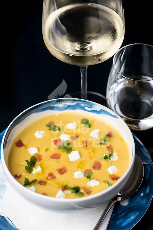 Sweet corn and yellow pepper soup with goats cheese and tomato at Parabola at The Design Museum, Kensington.<br /> Picture by Daniel Hambury/Stella Pictures Ltd 07813022858<br /> 25/09/2017