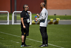 June 15, 2018 - Moscow, RUSSIA - Belgium's video analyst Moussa El Habchi and Belgium's head coach Roberto Martinez pictured during a training session of Belgian national soccer team the Red Devils in Nahabino, near Moscow, Russia, Friday 15 June 2018. The team is preparing for their first game at the FIFA World Cup 2018 next Monday. BELGA PHOTO DIRK WAEM (Credit Image: © Dirk Waem/Belga via ZUMA Press)
