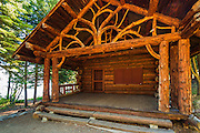 Log cabin at Tallac Historic Site, Lake Tahoe, California USA