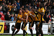 Padraig Amond of Newport county (9) celebrates with his teammates after he scores his teams 1st goal. EFL Skybet football league two match, Newport county v Yeovil Town at Rodney Parade in Newport, South Wales on Saturday 7th October 2017.<br /> pic by Andrew Orchard,  Andrew Orchard sports photography.