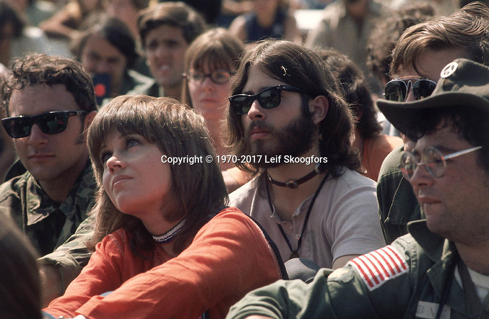 """Philadelphia, PA  September 1970 -- Actress and activist sits at an ant-war rally at the end of """"Operation RAW"""". This was an anti-war action by Vietnam Veterans Against the War (VVAW) and John Kerry sits some 15 feet behind her. Credit Line mandatory."""
