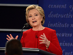 September 26, 2016 - Hempstead, New York, United States of America - Former United States Secretary of State Hillary Clinton, the Democratic Party nominee for President of the US makes a point as she appears in the first of three presidential general election debates with businessman Donald J. Trump, the Republican Party nominee for President of the US at Hofstra University in Hempstead, New York on Monday, September 26, 2016..Credit: Ron Sachs / CNP. (Credit Image: © Ron Sachs/CNP via ZUMA Wire)