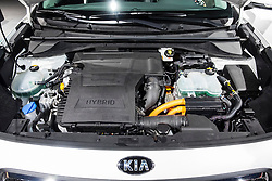 Detail of Kia Niro Hybrid engine at Paris Motor Show 2016