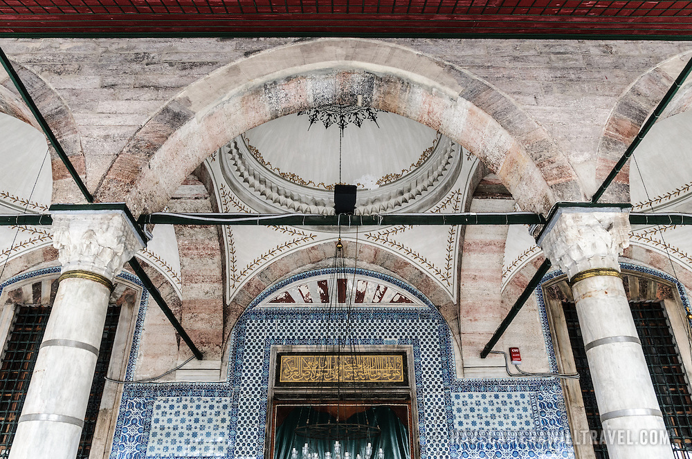 Intricate detail of the ceiling and top of the main entrance to Istanbul's Rustem Pasha Mosque near the Spice (Egyption) Market.