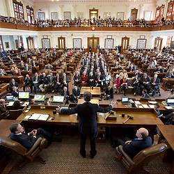 Texas Governor Rick Perry gives his final speech to the Texas legislature, wrapping up a 30-year career in Texas politics advancing from a state representative to longest serving governor in Texas history. <br /> <br /> Photojournalism Sample Photography -- Daemmrich