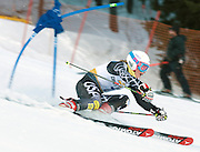 NEWS&GUIDE PHOTO / PRICE CHAMBERS.Laurenne Ross of the 2010 U.S. Olympic Ski Team tucks around one of the first gates of the giant slalom course at Snow King on Sunday morning. Ross finished her first run with a time of 48.84 seconds. Born in Canada, Ross now lives in Oregon where she still races her father on occasion.