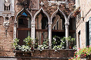 """Window plants. Venice (Venezia) is the capital of Italy's Veneto region, named for the ancient Veneti people from the 10th century BC. The romantic """"City of Canals"""" stretches across 117 small islands in the marshy Venetian Lagoon along the Adriatic Sea in northeast Italy, between the mouths of the Po (south) and Piave (north) Rivers. The Republic of Venice was a major maritime power during the Middle Ages and Renaissance, a staging area for the Crusades, and a major center of art and commerce (silk, grain and spice trade) from the 13th through 17th centuries. The wealthy legacy of Venice stands today in a rich architecture combining Gothic, Byzantine, and Arab styles. Venice and the Venetian Lagoons are on the prestigious UNESCO World Heritage List. Composer Antonio Vivaldi (1678-1741) was born in Venice."""