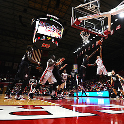 D'Von Campbell #55 of the Rutgers Scarlet Knights puts up a layup during the first half of Rutgers men's basketball vs Temple Owls in American Athletic Conference play on Jan. 1, 2014 at Rutgers Louis Brown Athletic Center in Piscataway, New Jersey.
