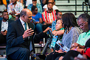 Chancellor Harold L. Martin Sr., left, chats with guests at the North Carolina Agricultural and Technical State University's spring Chancellor's Speaker Series on Thursday, April 11, 2019.<br /><br />(Chris English/Tigermoth Creative)