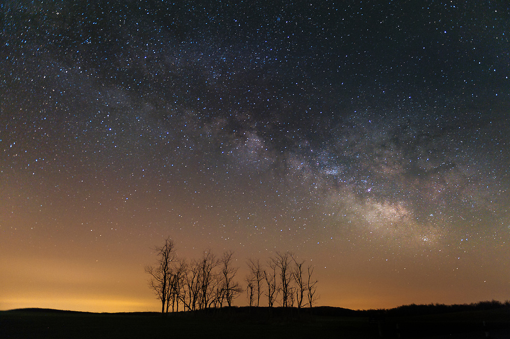The Milky Way Galaxy hangs in the early morning sky over a copse of trees at Big Meadows in Shenandoah National Park on April 22, 2015