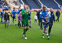Preston North End do a lap of the pitch after their last home league match of the season to applaud their fans for their support during the season<br /> <br /> Photographer Stephen White/CameraSport<br /> <br /> Football - The Football League Sky Bet League One - Preston North End v Swindon Town - Saturday 25th April 2015 - Deepdale - Preston<br /> <br /> © CameraSport - 43 Linden Ave. Countesthorpe. Leicester. England. LE8 5PG - Tel: +44 (0) 116 277 4147 - admin@camerasport.com - www.camerasport.com