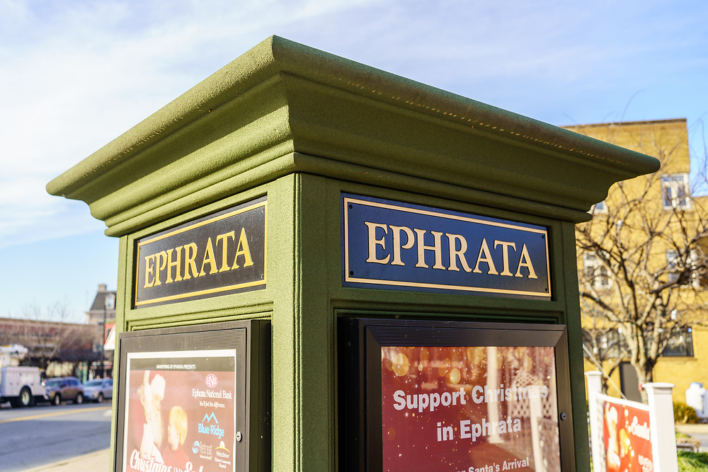Ephrata, PA / USA - December 23, 2019: An Ephrata Sign in the downtown area near the visitors center. The town is the most populous borough in Lancaster County.