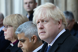© Licensed to London News Pictures. 02/12/2019. London, UK. Prime Minister Boris Johnson and Labour Leader Jeremy Corbyn attend a vigil at Guildhall Yard following a terrorist attack on London Bridge in which two people were killed. The attacker was shot by police firearms officers and pronounced dead at the scene. Photo credit: Rob Pinney/LNP