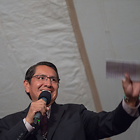 2018 Navajo Nation President Johnthan Nez gives his speech to his supporters as they celebrate the final results of the Navajo Nation Presidential election on Tuesday in Window Rock.