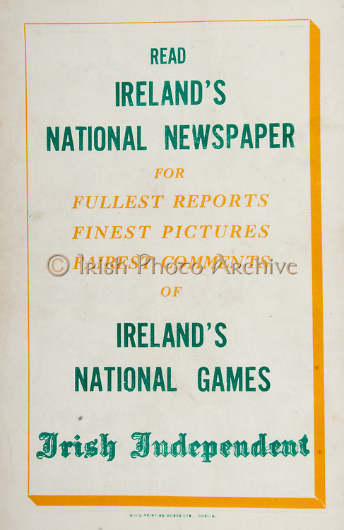 All Ireland Senior Hurling Championship Final,.Brochures,.03.09.1950, 09.03.1950, 3rd September 1950, .Tipperary 1-9, Kilkenny 1-8, .Minor Tipperary v Kilkenny,.Senior Tipperary v Kilkenny, .Croke Park, ..Advertisements, Irish Independent,
