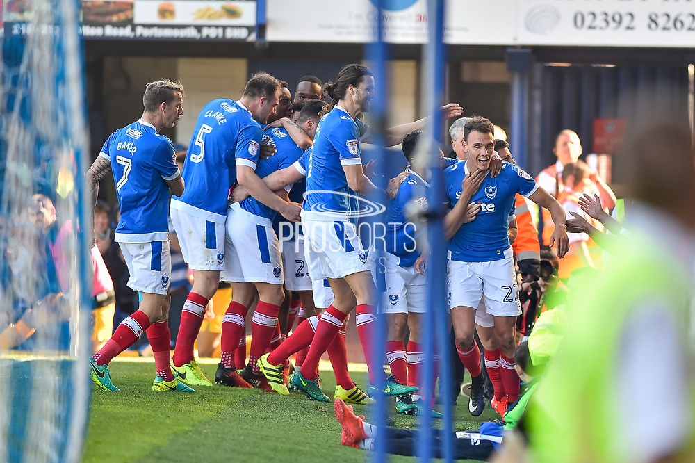 Portsmouth Players Celebrate after Portsmouth Midfielder, Kal Naismith (22) scores to make it 2-1 during the EFL Sky Bet League 2 match between Portsmouth and Yeovil Town at Fratton Park, Portsmouth, England on 8 April 2017. Photo by Adam Rivers.