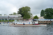 """Henley-On-Thames, Berkshire, UK.,Thursday, 12.08.21,   Henley Umpires Launch, """"Artemisia"""", heading for the gap in the booms by the progress board,, 2021 Henley Royal Regatta,  [ Mandatory Credit © Peter Spurrier/Intersport Images],"""