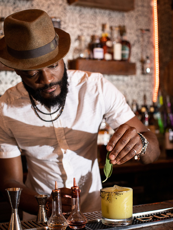 New York, NY - August 4, 2021: 67 Orange Street, a cocktail bar by owner Karl-Franz Williams in Harlem.<br /> <br /> Photo by Clay Williams.