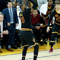 12 June 2017: Cleveland Cavaliers forward LeBron James (23) takes a jump shot during the Golden State Warriors 129-120 victory over the Cleveland Cavaliers, in game 5 of the 2017 NBA Finals, at the Oracle Arena, Oakland, California, USA.