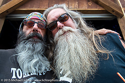 """Harry Fryed of the Fryed Brothers Band with Steve """"Beatnik"""" Werner before their performance at the Knuckle Saloon during the 75th Annual Sturgis Black Hills Motorcycle Rally.  SD, USA.  August 7, 2015.  Photography ©2015 Michael Lichter."""