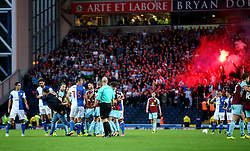 A Blackburn Rovers fan attempts to attack Burnley players after the opening goal is scored - Mandatory by-line: Matt McNulty/JMP - 23/08/2017 - FOOTBALL - Ewood Park - Blackburn, England - Blackburn Rovers v Burnley - Carabao Cup - Second Round