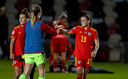 NEWPORT, WALES - Thursday, October 22, 2020: Wales' goal-scorer Lily Woodham (R) after the UEFA Women's Euro 2022 England Qualifying Round Group C match between Wales Women and Faroe Islands Women at Rodney Parade. Wales won 4-0. (Pic by David Rawcliffe/Propaganda)
