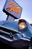 Route 66, Galaxy Diner, 1957 Chevrolet, twilight, neon sign, Flagstaff, Arizona