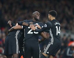 02 December 2017 London : Premier League Football : Arsenal v Manchester United - Romelu Lukaku of Man Utd and Jesse Lingered of Man Utd celebrate the first goal.<br /> (photo by Mark Leech)