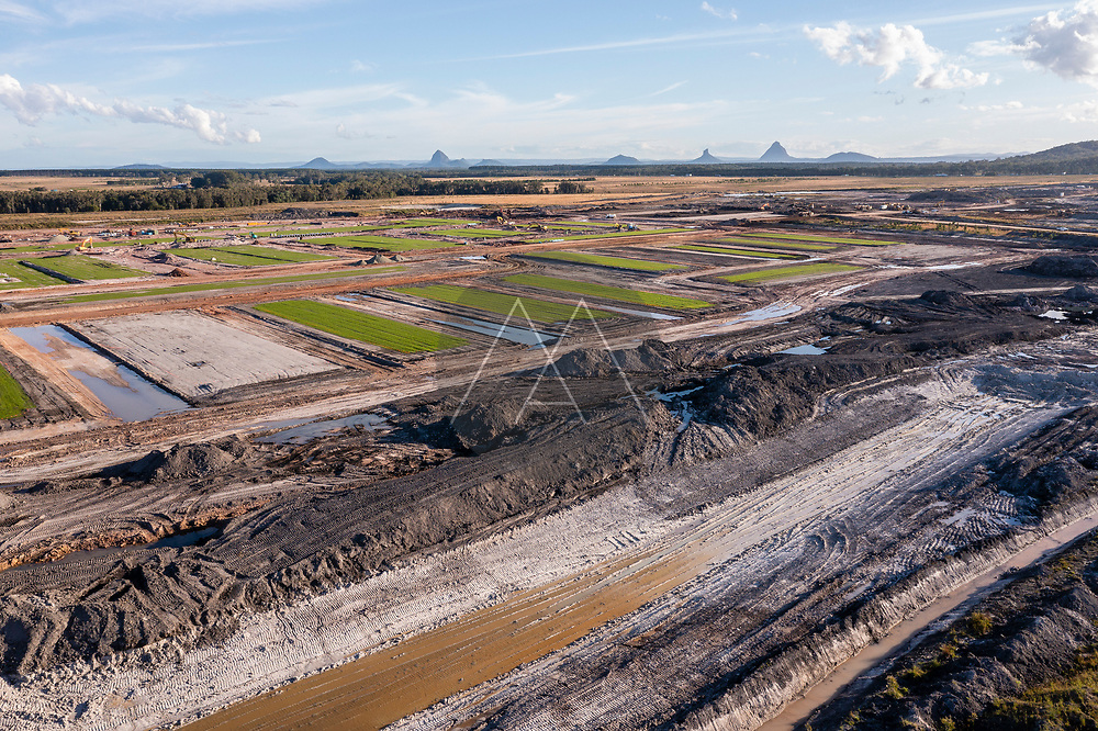 Aerial view of a construction site on Aura, a planned city in Caloundra, Sunshine Coast, Queensland, Australia.