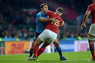 Andrea Manici of Italy charges into Noa Nakaitaci of France. Rugby World Cup 2015 pool D match, France v Italy at Twickenham Stadium in London on Saturday 19th September 2015.<br /> pic by John Patrick Fletcher, Andrew Orchard sports photography.