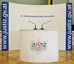 02.02.2012, Justizministerium, Wien, AUT, Pressekonferenz mit Bundesministerin fuer Justiz Dr. Beatrix Karl zum Thema Vertrauensoffensive Justiz mit Veroeffentlichung von Ergebnissen der Karmasin Studie, im Bild Feature leeres Podium Bundesministerium für Justiz // during the press conference with minister of justice Dr. Beatrix Karl about the topic confidential offensive ministry of justice and publishing the result of Karmasin study, Ministry of Justice, Vienna, 2012-02-02, EXPA Pictures © 2012, PhotoCredit: EXPA/ M. Gruber