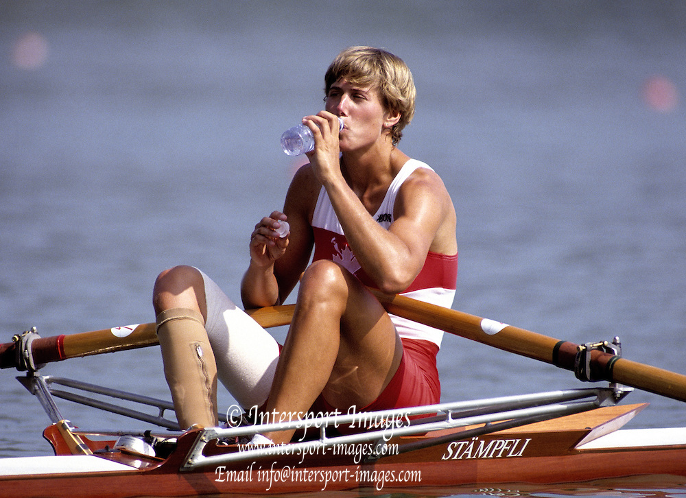 Barcelona Olympics 1992 - Lake Banyoles, SPAIN, CAN W1X Silken Laumann, Bronze Medallist six week after an accident - Peter Spurrier Sports Photo. .Tel 44 (0) 1784-440 771  .Mobile 44 (0) 973 819 551.email images@intersport-images.com.       {Mandatory Credit: © Peter Spurrier/Intersport Images]..........       {Mandatory Credit: © Peter Spurrier/Intersport Images]..........       {Mandatory Credit: © Peter Spurrier/Intersport Images].........