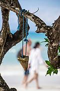 Vacation couple walks on the beach, Negril, Jamaica