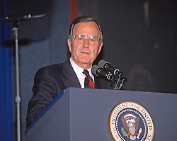 United States President George H.W. Bush makes remarks at the AFL-CIO convention in Washington, D.C. on November 15, 1989.<br /> Credit: Ron Sachs / CNP /ABACAPRESS.COM