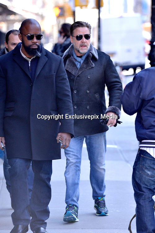 Apr 05, 2016 - New York City, NY, USA - Actor Russell Crowe leaves a downtown hotel <br /> (Credit Image: © Exclusivepix Media)
