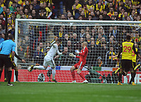 Football - 2018 / 2019 Emirates FA Cup - Semi-Final: Wolverhampton Wanderers vs. Watford<br /> <br /> Matt Doherty of Wolves scores his first half goal past goalkeeper, Heurelho Gomes, at Wembley Stadium.<br /> <br /> COLORSPORT/ANDREW COWIE
