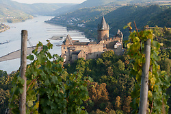 Burg Stahleck castle above Bacharach village beside River Rhine in Germany