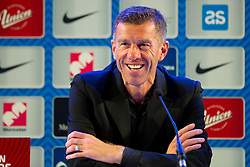 Srecko Katanec, head coach of Slovenia during press conference after winning the football match between National teams of Slovenia and Switzerland at Round 2 of Euro 2016 Qualifications, on October 9, 2014 in Stadium Ljudski vrt, Maribor, Slovenia. Photo by Vid Ponikvar / Sportida.com