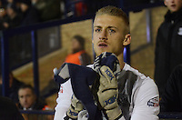 Southend United's Daniel Bentley dries his gloves prior to kick-off<br /> <br /> Photo by Kevin Barnes/CameraSport<br /> <br /> Football - The Football League Sky Bet League Two - Southend United v Newport County - Friday 31st January 2014 - Roots Hall - Southend<br /> <br /> © CameraSport - 43 Linden Ave. Countesthorpe. Leicester. England. LE8 5PG - Tel: +44 (0) 116 277 4147 - admin@camerasport.com - www.camerasport.com