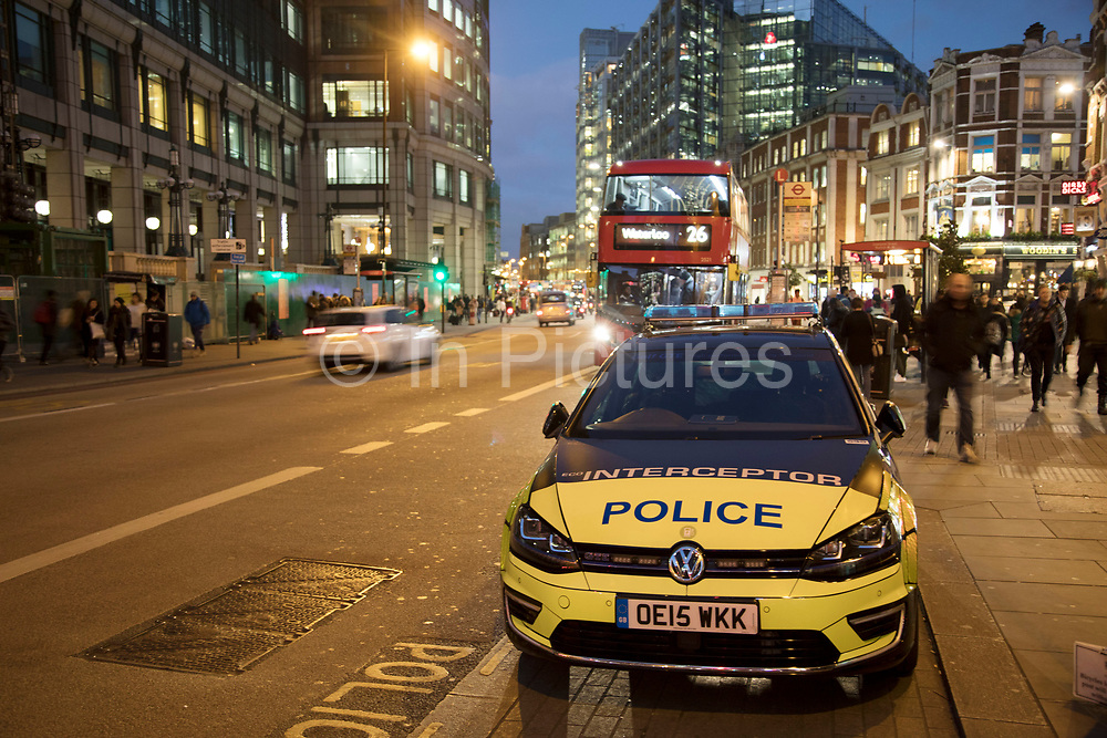 Police Interceptor car parked on Bishopsgate near Liverpool Street in London, England, United Kingdom.