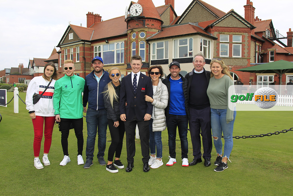 Conor Purcell (GB&I) with family and friends during the Official Opening of the Walker Cup, Royal Liverpool Golf CLub, Hoylake, Cheshire, England. 06/09/2019.<br /> Picture Thos Caffrey / Golffile.ie<br /> <br /> All photo usage must carry mandatory copyright credit (© Golffile | Thos Caffrey)