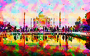 Digitally enhanced image of The Taj Mahal, in India, Uttar Pradesh, Agra,