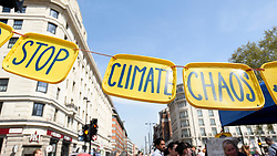 "© Licensed to London News Pictures. 22/04/2019. LONDON, UK.  Signs made by activists gathered at Marble Arch during ""London: International Rebellion"", on day eight of a protest organised by Extinction Rebellion.  Protesters are demanding that governments take action against climate change.  After police issued section 14 orders at the other protest sites of Oxford Circus, Waterloo Bridge and Parliament Square resulting in over 900 arrests, protesters have convened at the designated site of Marble Arch so that the protest can continue.  Photo credit: Stephen Chung/LNP"