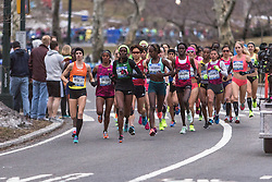 NYRR New York City Half Marathon road race: women's start, Huddle, Deba, Kipyego