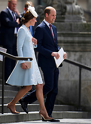 © Licensed to London News Pictures. 10/06/2016. London, UK. CATHERINE DUCHESS OF CAMBRIDGE and PRINCE WILLIAM leave a service of thanksgiving to mark the 90th birthday of Queen Elizabeth II, held at St Paul's Cathedral in London. Photo credit: Ben Cawthra/LNP