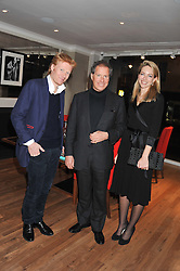 A reception in honour of David Linley to recognise his ambassadorial role for Ruinart Champagne held at Linley, Pimlico Road, London on 24th October 2012.<br /> Picture shows:-Left to right, JAMIE EDMISTON, DAVID LINLEY and VANESSA STORY.
